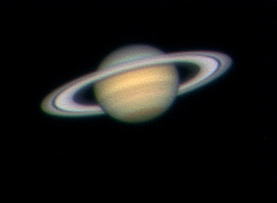 View of Saturn through a telescope with a 14 inch aperture