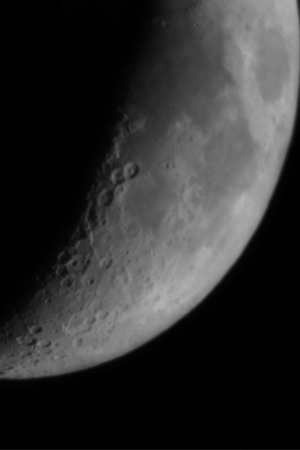 View of the moon through an Astromaster 130EQ-MD - with 130mm aperture