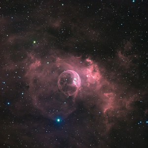 View of the Bubble Nebula with a 14 inch aperture